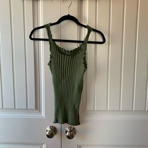 Green ribbed tank top